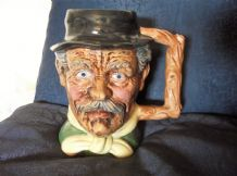 VINTAGE TOBY JUG BLUE EYED OLD WRINKLED MAN WITH LOG HANDLE MAGROU LABEL 6.75""
